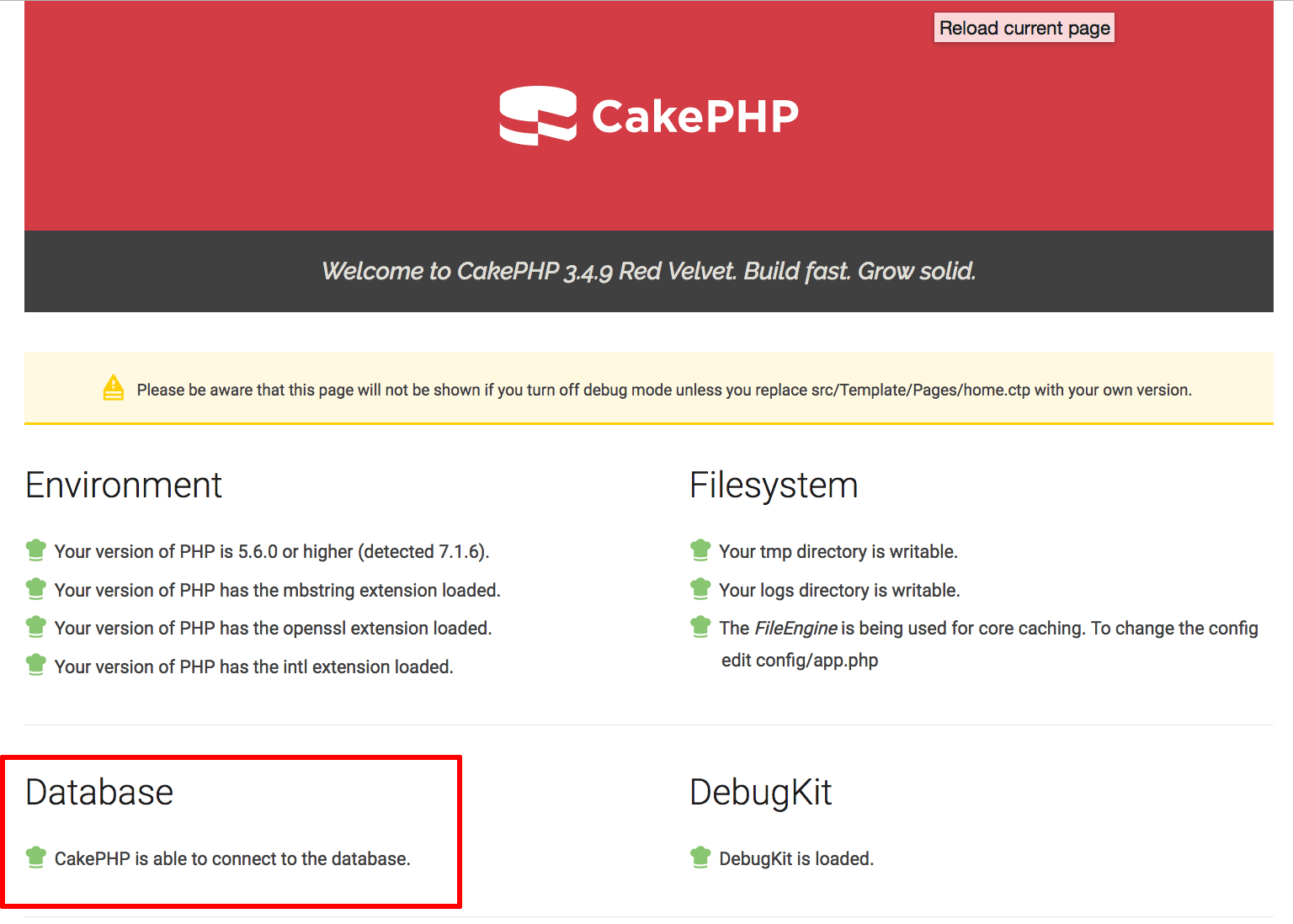 CakePHP skeleton application welcome page